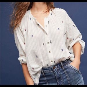 AKEMI + KIN | embroidered white peasant top Medium